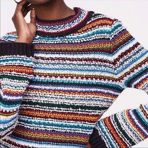 Loft Rainbow Striped Chunky Knit Sweater
